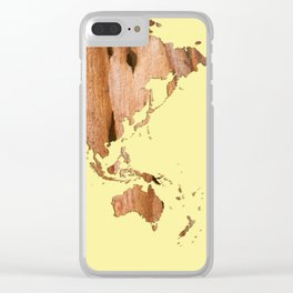 Wood bark - Yellow - Organic World Map Series Clear iPhone Case