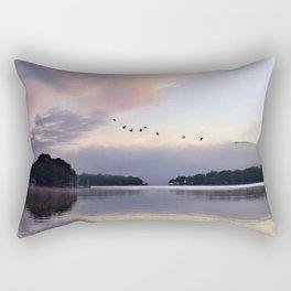 Uplifting: Geese Rise at Dawn on Lake George Rectangular Pillow