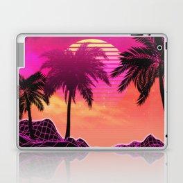 Pink vaporwave landscape with rocks and palms Laptop & iPad Skin