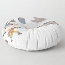 atla team bender - aang appa momo Floor Pillow