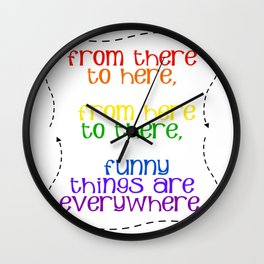 Rainbow Typography Wall Clock