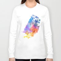 lion Long Sleeve T-shirts featuring Sunny Leo   by Robert Farkas