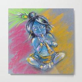 Little Krishna playing the flute Metal Print