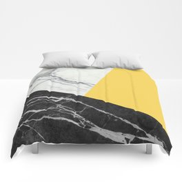 Black and White Marble with Pantone Primrose Yellow Comforters