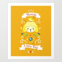 animal crossing Art Prints featuring Animal Crossing: Isabelle by Anth Rodi
