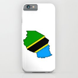 Tanzania Map with Tanzanian Flag iPhone Case