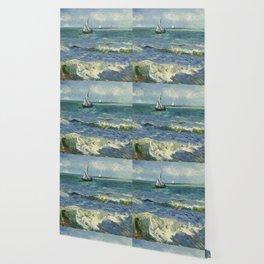 The Sea at Les Saintes-Maries-de-la-Mer by Vincent van Gogh Wallpaper
