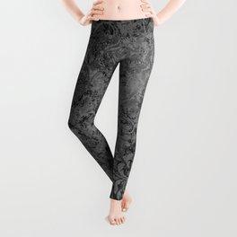 Elegant Black Grunge Damask Leggings