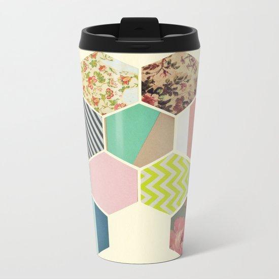 Florals and Stripes Metal Travel Mug