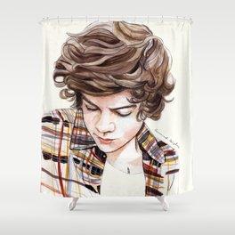 H plaid watercolors Shower Curtain