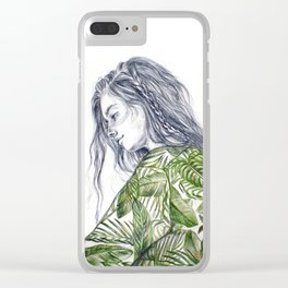 Tropical Palm Print Portrait Clear iPhone Case