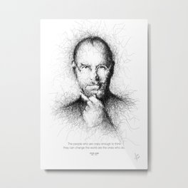 Steve Jobs Handmade Scribble Portrait Metal Print