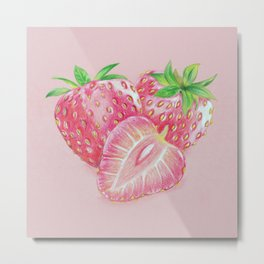Color pencil Strawberry Metal Print