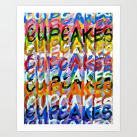 cupcakes Art Prints featuring CUPCAKES by Claudia McBain
