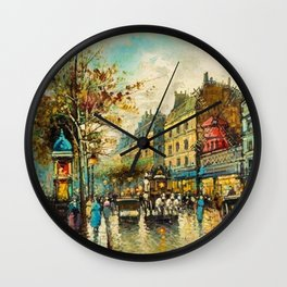 Le Moulin Cabaret Club a Montmartre, Paris by Antoine Blanchard Wall Clock