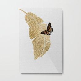 Butterfly & Palm Leaf, Gold Wall Art Metal Print