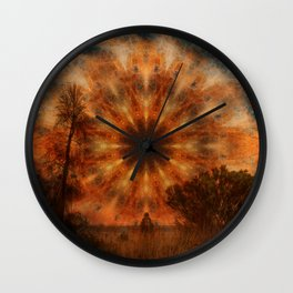 Surreal landscape in corrugated iron mandala Wall Clock