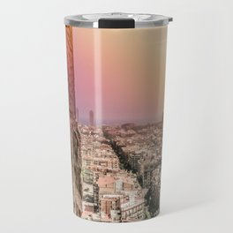 Colorful Rainbow View from Sagrada Familia over the Old City of Barcelona Travel Mug