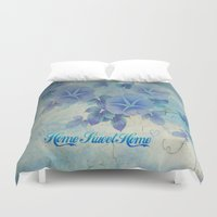 home sweet home Duvet Covers featuring Home Sweet Home by Judy Palkimas