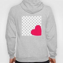 Red heart polka dot Hoody