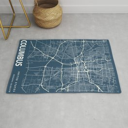 Columbus Blueprint Street Map, Columbus Colour Map Prints Rug