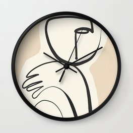 Lady Portrait Abstract Minimal  Line Art 3 Wall Clock