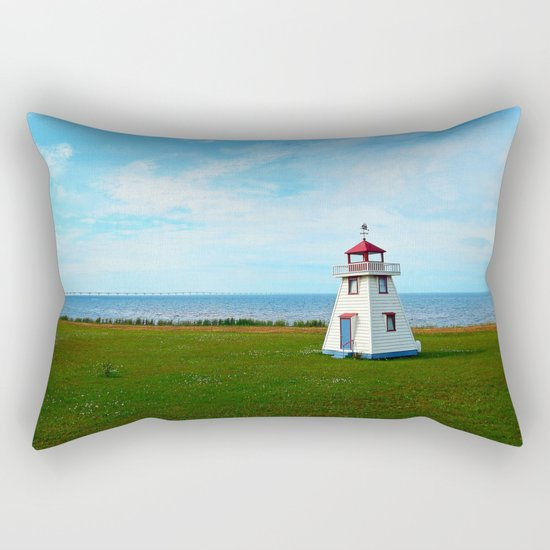 Tiny Lighthouse and Giant Bridge Rectangular Pillow