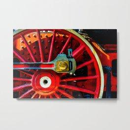 Large Red Wheel Of A Retro Steam Locomotive Metal Print