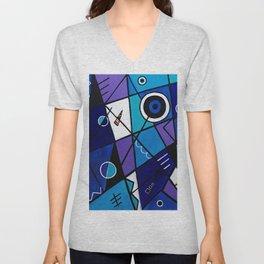 Blue Geometric Unisex V-Neck