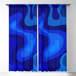 Blue Abstract Art Colorful Blue Shades Design Blackout Curtain