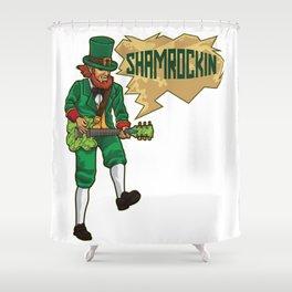 E-Guitar Playing Leprechaun - Shamrockin Shower Curtain