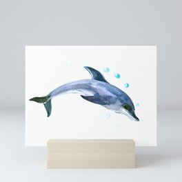Happy Dolphin children artwork illustration decor dolphin Mini Art Print