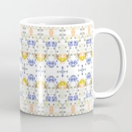 Detailed Delicate Yellow Blue Pattern Coffee Mug