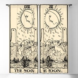 XVIII. The Moon Tarot Card on Parchment Blackout Curtain