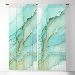 Magic Bloom Flowing Teal Blue Gold Blackout Curtain