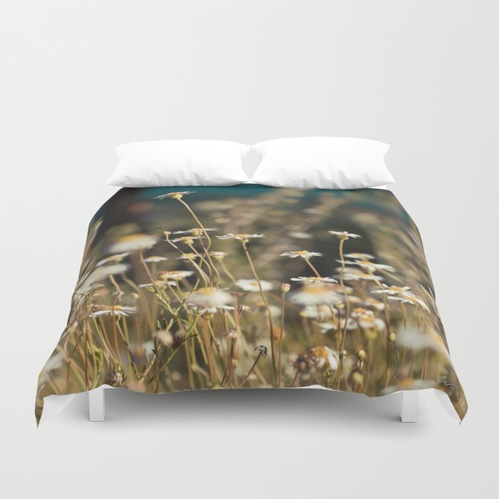 Field Of Daisies Floral Photography Society6 Duvet Cover By Lightwanderer Society6