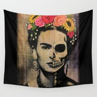 frida Wall Tapestries featuring Frida by Cristina Bee