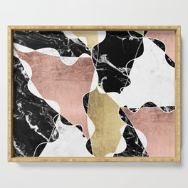 Modern white black marble rose gold foil color block handdrawn geometric lines Serving Tray