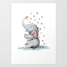Elephant playing with letters Art Print