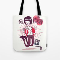 boobs Tote Bags featuring The Unbelievable AntGrav Boobs by Thecansone