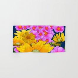 BLUE COLOR PINK-YELLOW FLOWER GARDEN ART Hand & Bath Towel