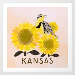 Kansas State Bird and Flower Art Print
