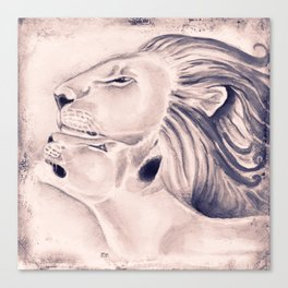 Two Lions Vintage Style Canvas Print