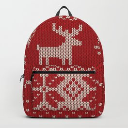 Christmas pattern knitting handmade scandinavian iIllustration with reindeer and heart Backpack