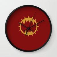warhammer Wall Clocks featuring Warhammer 40k World Eaters Minimalist Print by Milos Cakovan