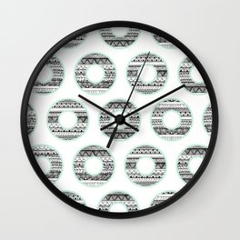 Black white handdrawn aztec donuts pattern mint green Wall Clock