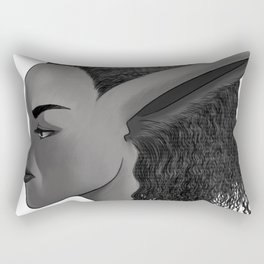 Bunny Girl Black and White Rectangular Pillow