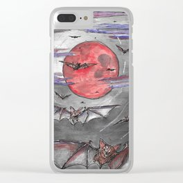 Bat Moon Clear iPhone Case