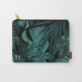 Tropical Jungle Night Leaves Pattern #1 #tropical #decor #art #society6 Carry-All Pouch