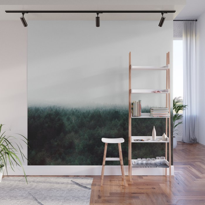 Misty Pine Forest Minimalist Foggy Landscape Photography Wall Mural